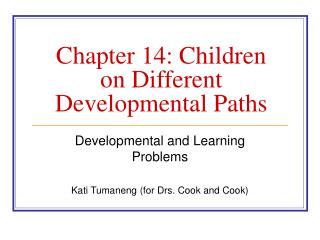 Chapter 14: Children on Different Developmental Paths