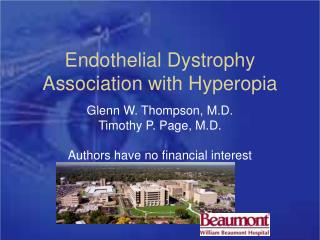 Endothelial Dystrophy Association with Hyperopia