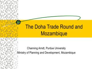 The Doha Trade Round and Mozambique