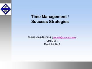 Time Management / Success Strategies