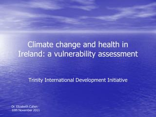 Climate change and health in Ireland: a vulnerability assessment