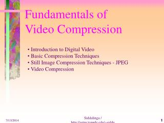 Fundamentals of  Video Compression