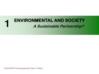 ENVIRONMENTAL AND SOCIETY A Sustainable Partnership?