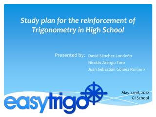 Study plan for the reinforcement of Trigonometry in High School