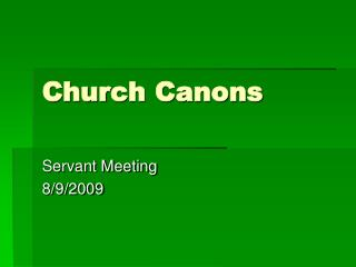 Church Canons