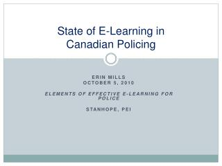 State of E-Learning in  Canadian Policing