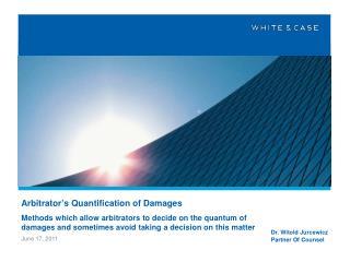 Arbitrator's Quantification of Damages
