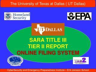 SARA TITLE III  TIER II REPORT ONLINE FILING SYSTEM