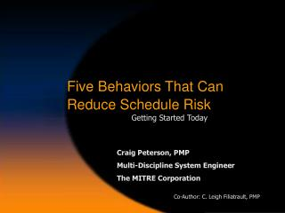 Five Behaviors That Can  Reduce Schedule Risk