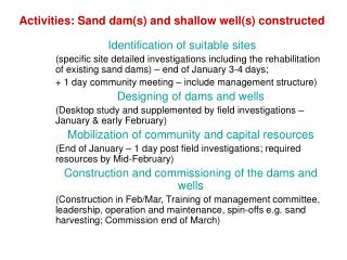 Activities:  Sand dam(s) and shallow well(s) constructed