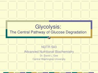 Glycolysis: The Central Pathway of Glucose Degradation