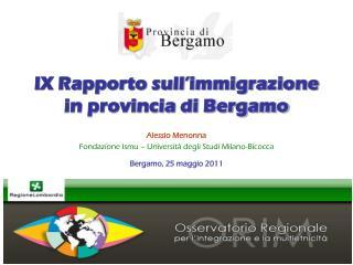 IX Rapporto sull'immigrazione in provincia di Bergamo
