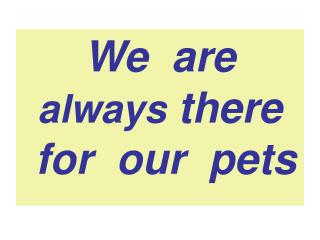 We  are  always  there             for  our  pets