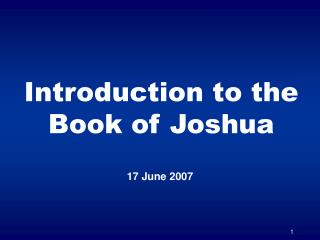 Introduction to the Book of Joshua