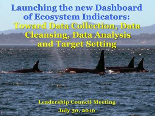 Launching the new Dashboard  of Ecosystem Indicators : Toward Data Collection, Data  Cleansing, Data Analysis  and Targ