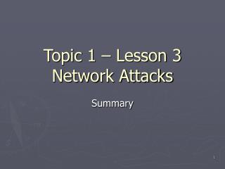 Topic 1 – Lesson 3 Network Attacks