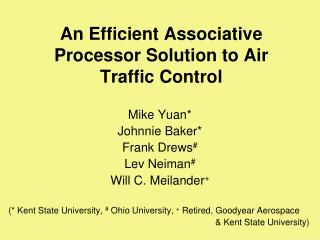 An Efficient Associative Processor Solution to Air Traffic Control