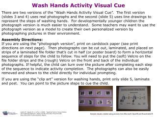 Wash Hands Activity Visual Cue