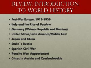 Review: Introduction to World History