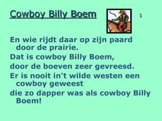 Cowboy Billy Boem 1