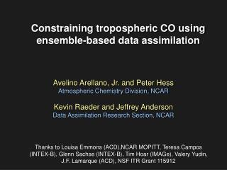 Constraining tropospheric CO using ensemble-based data assimilation