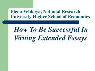 Elena Velikaya, National Research University Higher School of Economics