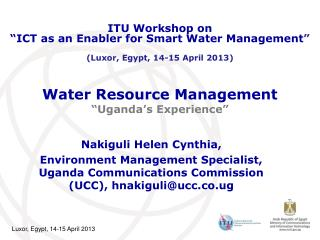 "Water Resource Management  ""Uganda's Experience"""