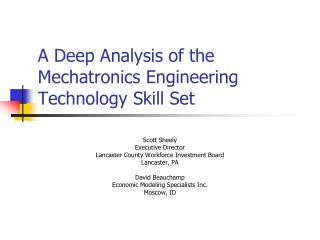 A Deep Analysis of the Mechatronics Engineering Technology Skill Set