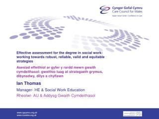 Effective assessment for the degree in social work: working towards robust, reliable, valid and equitable strategies