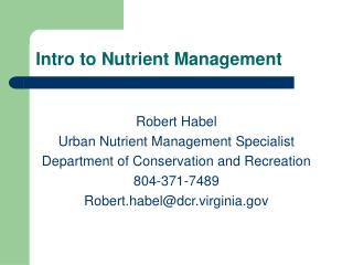 Intro to Nutrient Management