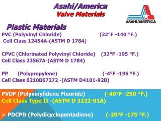 PVC (Polyvinyl Chloride)            (32°F -140 °F.)     Cell Class 12454A-(ASTM D 1784) CPVC (Chlorinated Polyvinyl C