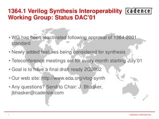1364.1 Verilog Synthesis Interoperability Working Group: Status DAC'01