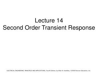 Lecture 14 Second Order Transient Response