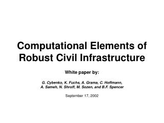 Computational Elements of Robust Civil Infrastructure