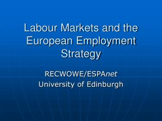 Labour Markets and the European Employment Strategy