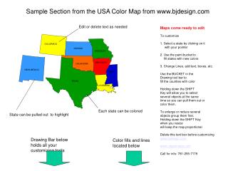 Sample Section from the USA Color Map from www.bjdesign.com