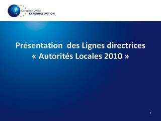 Présentation  des Lignes directrices «Autorités Locales 2010»