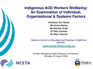 Indigenous AOD Workers Wellbeing: An Examination of Individual, Organisational  Systems Factors