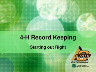 4-H Record Keeping