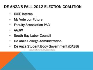 De Anza's Fall 2012 Election Coalition