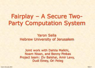 Fairplay – A Secure Two-Party Computation System  Yaron Sella Hebrew University of Jerusalem