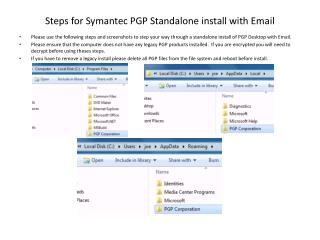 Steps for Symantec PGP Standalone install with Email