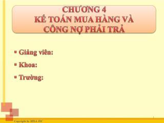 CH??NG 4 K? TO�N MUA H�NG V�  C�NG N? PH?I TR?