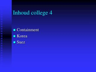 Inhoud college 4