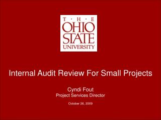 Internal Audit Review For Small Projects Cyndi Fout Project Services Director October 26, 2009