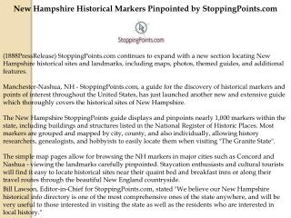 New Hampshire Historical Markers Pinpointed by StoppingPoint