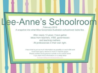 Lee-Anne's Schoolroom