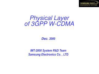 Physical Layer of 3GPP W-CDMA
