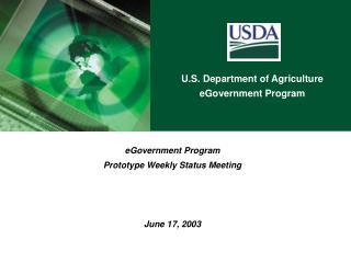 eGovernment Program Prototype Weekly Status Meeting June 17, 2003