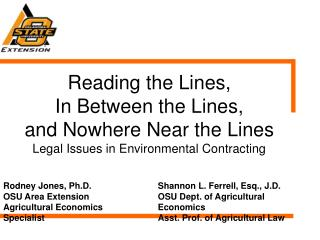 Reading the Lines,  In Between the Lines,  and Nowhere Near the Lines Legal Issues in Environmental Contracting